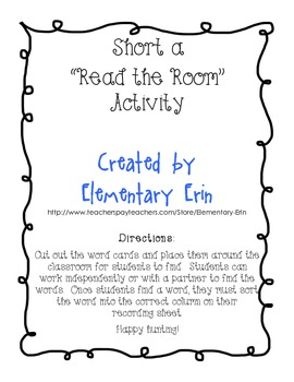 Short a Read the Room activity (Unit 1, Week 1 Reading Street)
