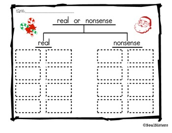 Short a Real vs. Nonsense Word Sort and Tree Map - Christmas Theme