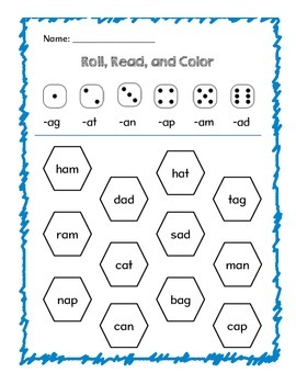Short a Roll, Read, and Color Sheet