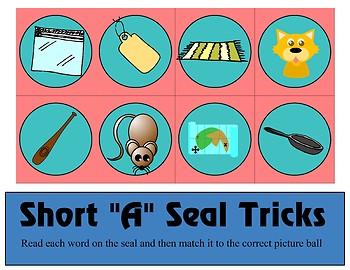 Short a Seal Tricks - Short A CVC Words Sort- Learning Center Kit