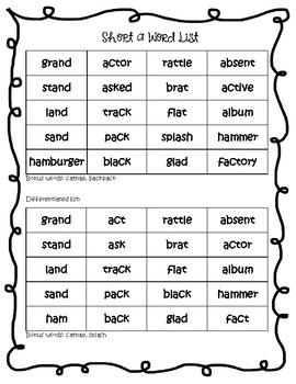 Short a Vowel Spelling Packet