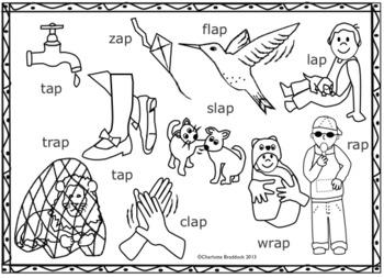 Short a Vowel Clip art Set - Ap Word Families - Rhyming Words