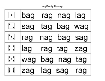 Short a Vowel Roll a Word Fluency