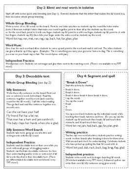 Short a Week-long Lesson Plan and Assessment