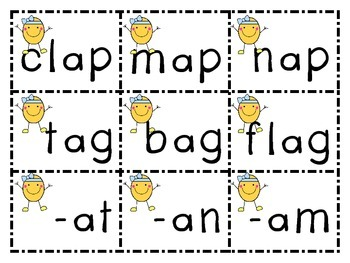 Short /a/ Word Families Activity: -at, -an, -am, -ap, -ag