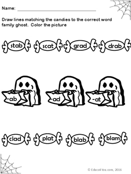 Short a Word Families - Blends & Digraphs - Halloween Theme!