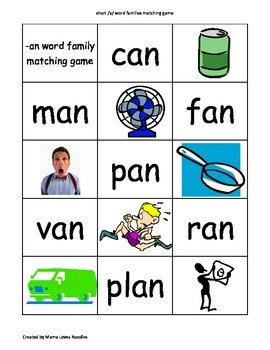 Short a Word Families Matching/Concentration Game
