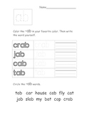 Short /a/ Word Families Worksheets