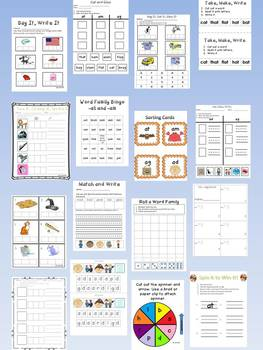 Short a Word Family Centers Bundle: CVC Bingo, Spinner, Sorting Cards & MORE!