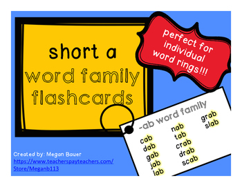 Short a Word Family Flashcards