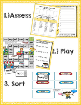 Short a Word Family Phonics Game and Word Sort
