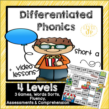 Differentiated Short a games, word sorts, vocabulary, and spelling