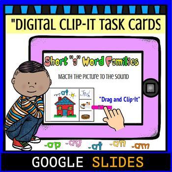"Short ""a"" Word Family Google Digital Clip-It Task Cards"