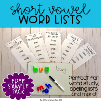 Short a Word Family Lists {Free Sample Pack}