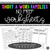 Short a Word Family No Prep Worksheets