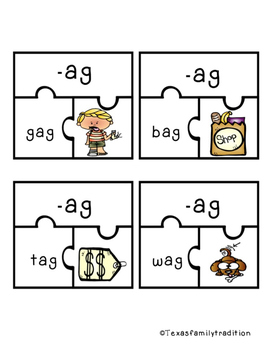 Short -a Word Family Puzzle Sort