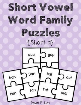 Short a Word Family Puzzles