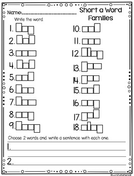Short a Word Family Task Cards Write The Room