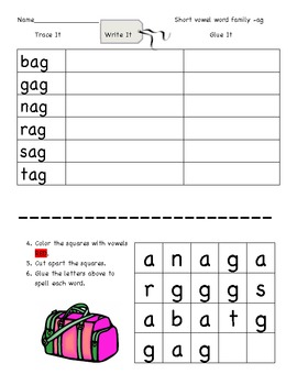 Short a Word Family Trace-Write-Glue Packet