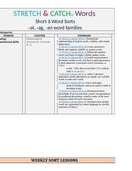 """Short """"a"""" Word Family Word Sort (at, ag, an word families)"""
