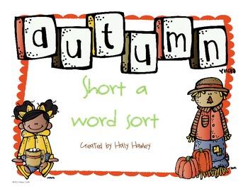 Short a Word Sort-a fall literacy center