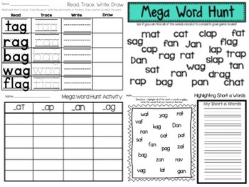 Short a Word Work Packet