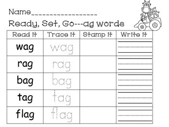 Word Work, -ag, and -ap word family