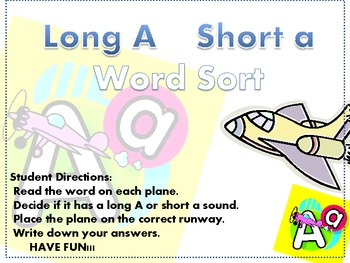 Short a and Long A Word Sort {FREEBIE!}