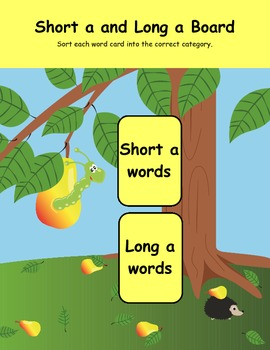 Short a and Long a Center Pear and Worm Printable