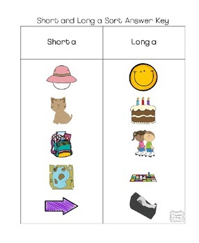 Short a and Long a Vowel Picture Sort