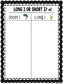 Short and Long i Word Sort Set