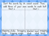 Short a and Short i Word Work-Advanced