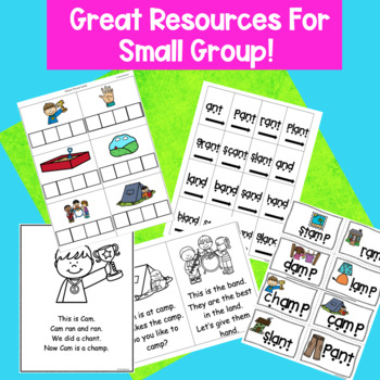 Short a Ending Blends–and, -amp, -ant Hands-on Phonics Activities