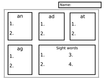 Short a family word sort