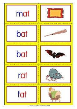 Short 'a' vowel poster and games: Freebie 'at' family
