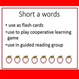 Short a word cards, short a I have Who has game, letter cards
