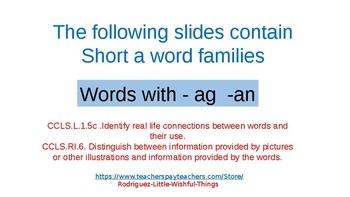 Short a word families -ag & -an
