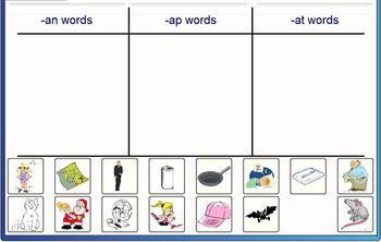 Short /a/ word sort SmartBoard game