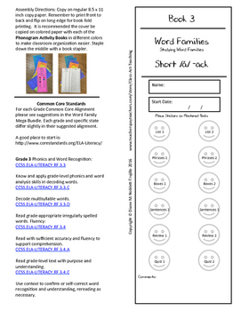 Book 3 Short /ă/ - ack Word Families for k-6 Grades and In