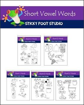Short a,e,i,o,u Vowel Words Clip Art Bundle