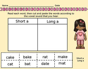 Short and Long A Activities for Center Time