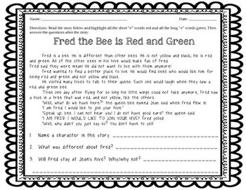 Short and Long E Vowel Sort/Center and Worksheets