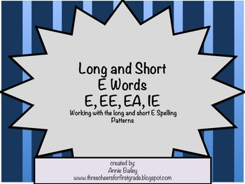 Short and Long E Word Study Sort (E, EE, EA & IE)