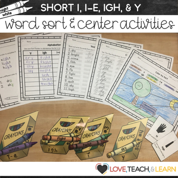 Long I Word Sort and Center Activities (I, IGH, I-E, Y)