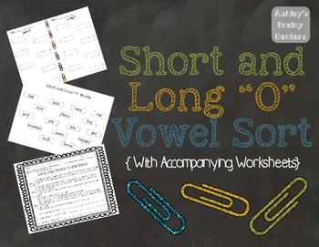Short and Long O Vowel Sort/Center and Worksheets