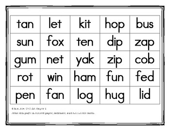 Short and Long Vowel 4 in a Row Game Board and Cards