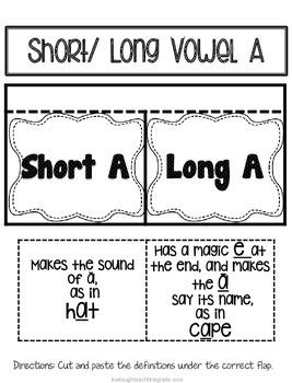 Phonics Interactive Notebook- Short/ Long Vowel A