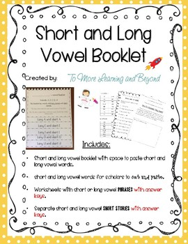 Short and Long Vowel Booklet/flipbook Including Reading Activities