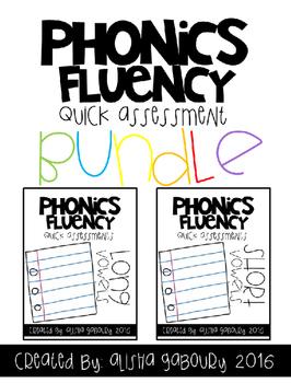 Phonics Fluency: Short and Long Vowel Quick Assessment Bundle
