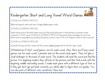 Short and Long Vowel Clothespin Matching Games